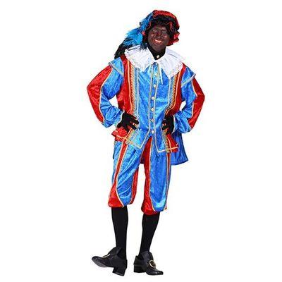 Pietenpak velours blauw/rood