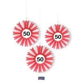Papieren pompons verkeersbord 50 jaar