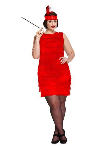 Jaren 20 jurkje rood (plus size)