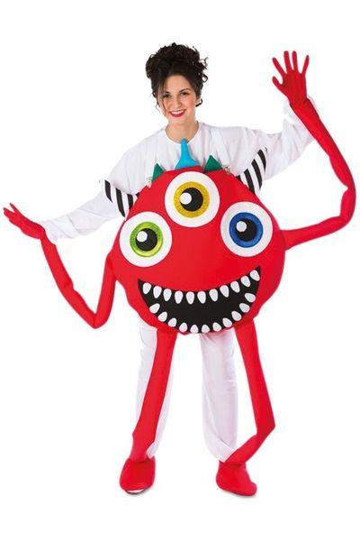 Monster kostuum rood unisex one size