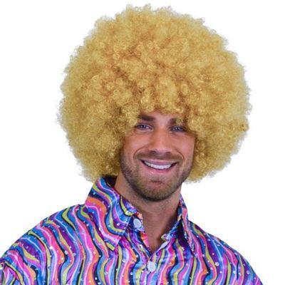 Afro pruik blond