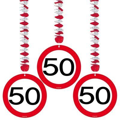 Hangdecoratie Verkeersbord 50 jaar/3st