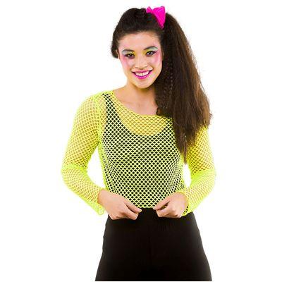Foto van Visnet croptop neon geel