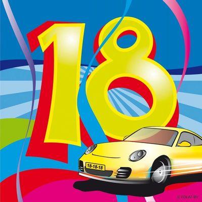 Servet 18 jaar Swirls 25x25/ stk