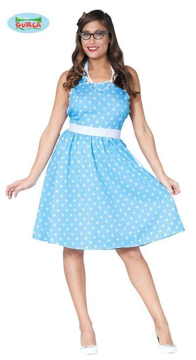 Blauwe polkadot jurk