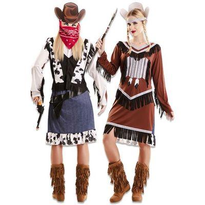 Foto van Double fun! Cowgirl en indiaan kostuum