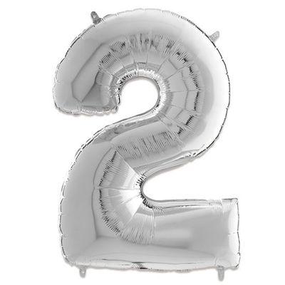 Foto van Folieballon cijfer 2 zilver (66cm)