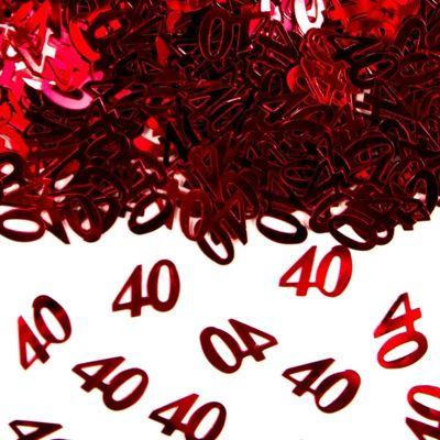 Foto van Tafel Confetti 40 jaar rood