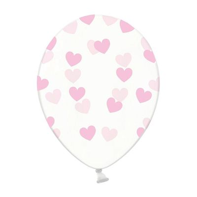 Foto van Ballonnen doorzichtig met hartjes licht roze