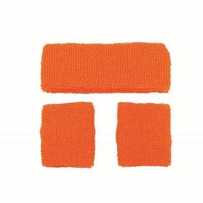 Neon zweetband hoofd en pols oranje