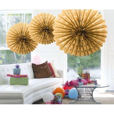 Honeycomb fan Goud 45cm