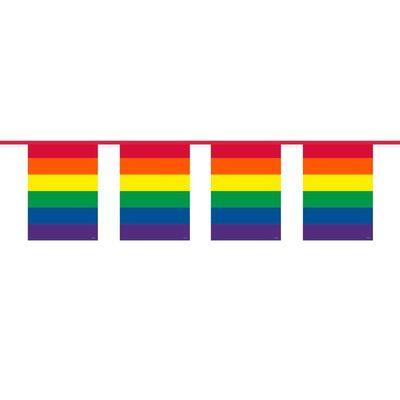 Foto van Vlaggenlijn Vierkant Regenboog/10 M