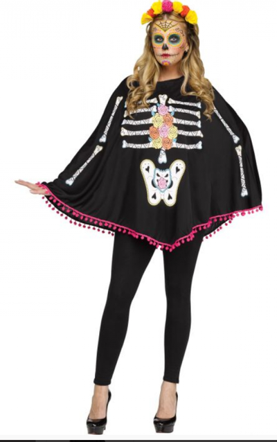 Halloween poncho day of the dead