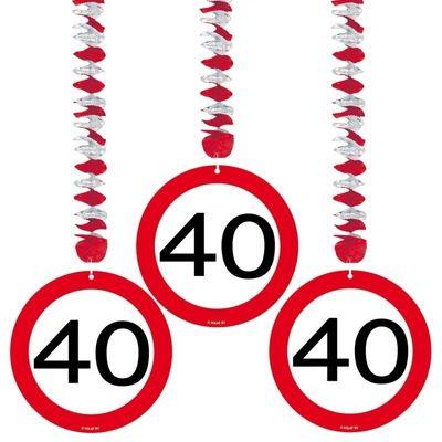 Hangdecoratie Verkeersbord 40 jaar/3st