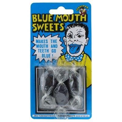 Blauwe tong snoepjes