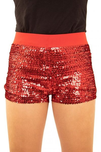 Glitter broekje showgirl rood