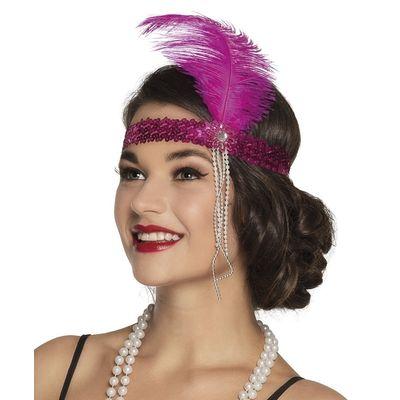Jaren 20 hoofdband roze