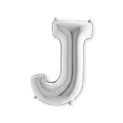 Foto van Folieballon letter J zilver XL (100cm)