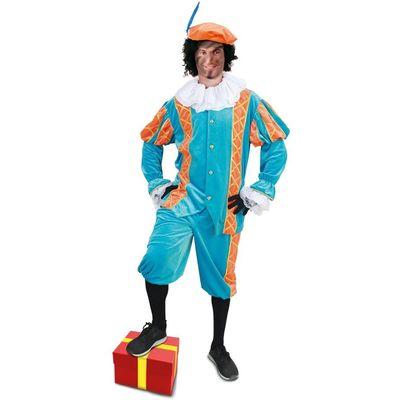 Foto van Piet kostuum Diego turquoise/oranje unisex