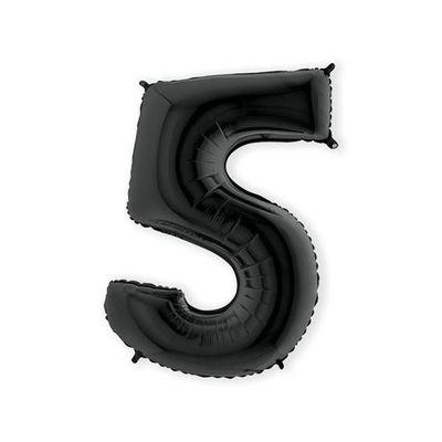 Foto van Folieballon cijfer 5 zwart XL (100cm)