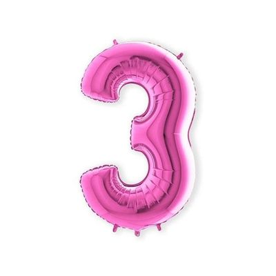 Folieballon cijfer 3 roze XL (100cm)