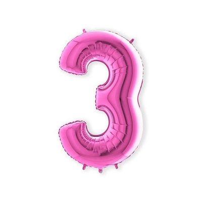 Foto van Folieballon cijfer 3 roze XL (100cm)