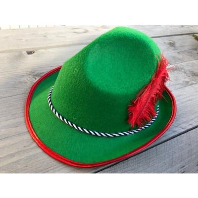Foto van Tiroler hoed - groen met rode veer