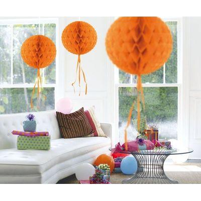 Foto van Honeycomb bal Oranje 30cm