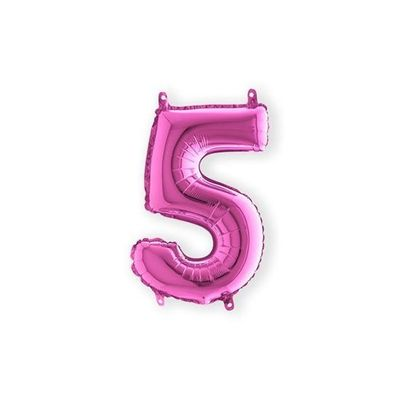 Folieballon cijfer 5 roze klein (35cm)
