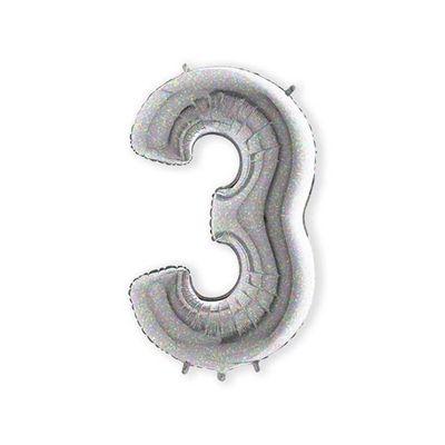Foto van Folieballon cijfer 3 holografisch XL (100cm)