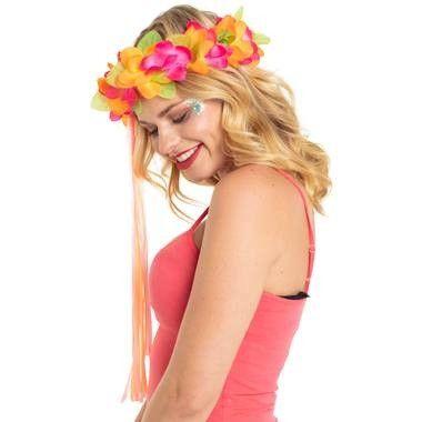 Foto van Bloemen haarband oranje