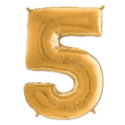 Folieballon cijfer 5 goud (66cm)