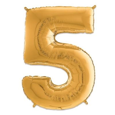 Foto van Folieballon cijfer 5 goud (66cm)