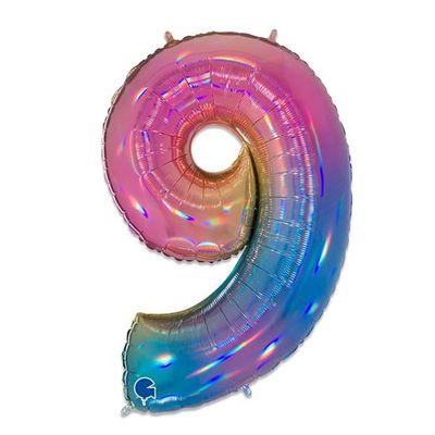Foto van Folieballon cijfer 9 regenboog XL (100cm)