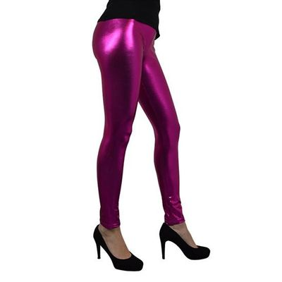 Metallic legging roze