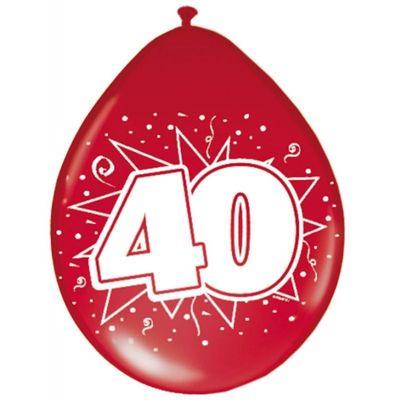 Foto van Ballonnen 40 jaar robijn rood (30cm) 8st