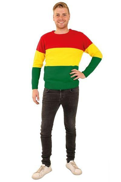 Gebreide trui rood/geel/groen gestreept kind