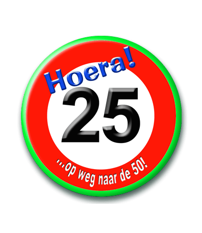 Button 25 jaar verkeersbord