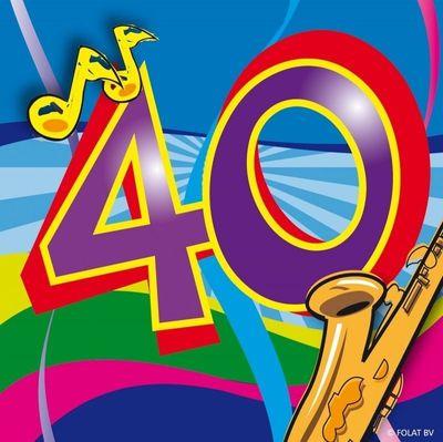 Servet 40 jaar Swirls 25x25/stk