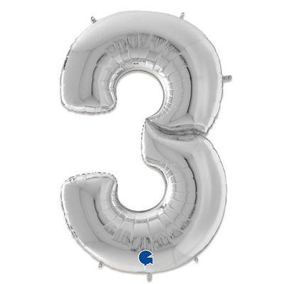 Foto van Folieballon cijfer 3 zilver XXL (163cm)