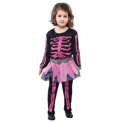 Roze skelet pak kind