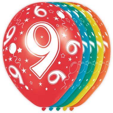 Foto van Leeftijd ballonnen 9 jaar 5 stuks