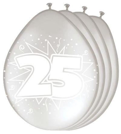 Ballonnen 25 jaar zilver (30cm) 8st