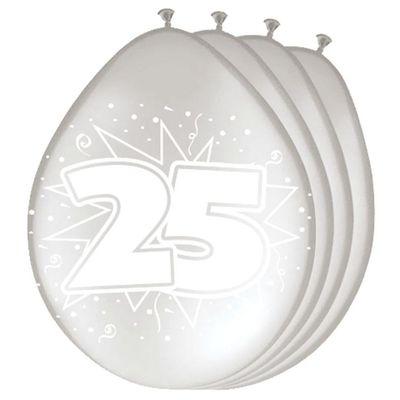 Foto van Ballonnen 25 jaar zilver (30cm) 8st