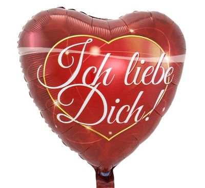 Folieballon Rood Hart 'Ich Liebe Dich'