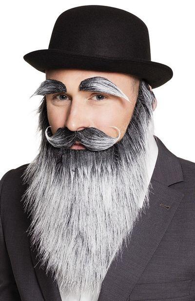 Baard, wenkbrauwen, snor oude man