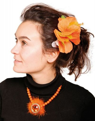 Hawai Haarclip Bloemen Oranje/6stk