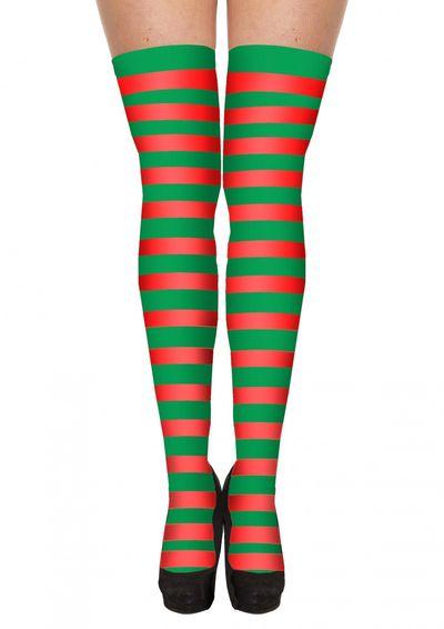 Kerst kniekousen groen-rood