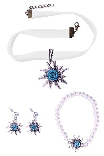 Bayern ketting, oorbellen en armband blauw