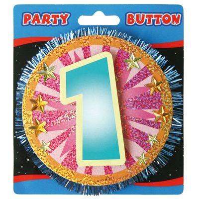 3D Button 1 Jaar assorti /stk